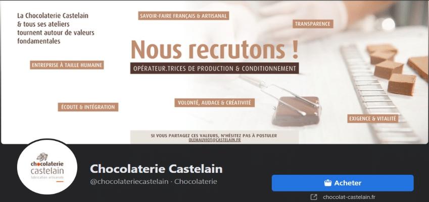 Page Facebook de la chocolaterie
