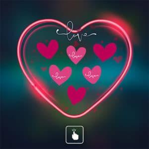 Jeu marketing Clicknwin en forme de cœur