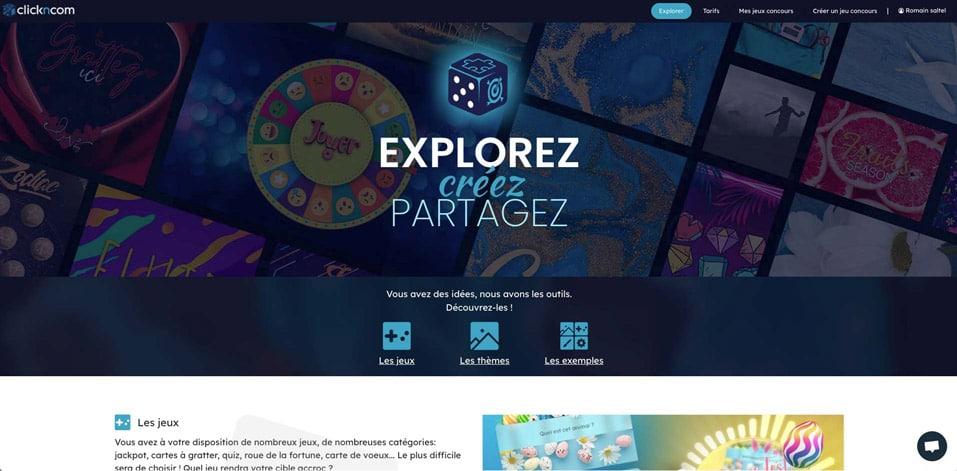 Page accueil de l'atelier Clickncom